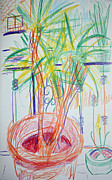 Pots Drawings Prints - Corn Plant on Balcony Print by Anita Dale Livaditis