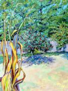 Landscape-like Art Paintings - Corn Stalk and Apple Tree  Autumn Lovers by Asha Carolyn Young