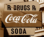 Drug Store Posters - Corner drugstore sign Poster by David Lee Thompson