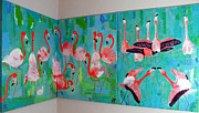 Birds Reliefs Prints - Corner Flamingos Print by Vicky Tarcau