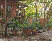 China Painting Framed Prints - Corner of a garden Framed Print by Victoria Kharchenko