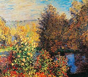 Lake Art Posters - Corner of garden in Montgeron Poster by Claude Monet
