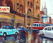 Montreal Memories. Paintings - Corner St.catherine And Union Streets-fifties Montreal-vintage Street Scene by Carole Spandau