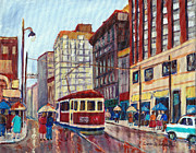 Montreal Storefronts Paintings - Corner St.catherine And University-classic Streetcar-vintage Montreal City Scene by Carole Spandau