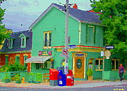 Montreal Cafes Framed Prints - Corner Stores Toronto Street Scene Paintings Park Snacks Piggys Brunch And Ice Cream Shop Cspandau  Framed Print by Carole Spandau
