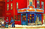 Hot Dog Joints Prints - Cornerstore Hockey Game In Verdun Pierrette Patates Restaurant Montreal Verdun Winter Hockey Scenes Print by Carole Spandau