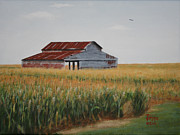 Impressionistic  On Canvas Paintings - Cornfield Barn by Jimmie Bartlett