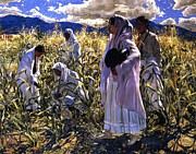Cornfield Paintings - Cornfield In Taos by Pg Reproductions