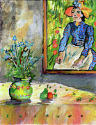 Peasant Paintings - Cornflowers in French Pottery and Van Gogh Painting on Wall by Ginette Callaway