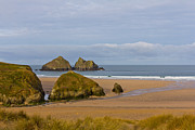 Golfcourse Prints - Cornish Seascape Holywell Bay Print by Brian Roscorla