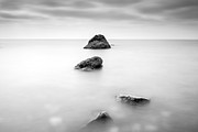 Monochrome Posters - Cornish Seascape  Poster by John Farnan