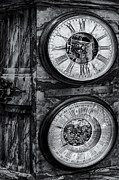 Clocks Metal Prints - Cornu Clock BW Metal Print by Susan Candelario