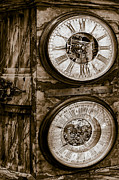 Clocks Framed Prints - Cornu Clock In Sepia Framed Print by Susan Candelario