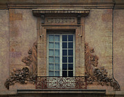 Overhang Posters - Cornucopia Window and Wrought Iron Balcony Poster by Carla Parris