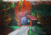 Cornwall Pastels Prints - Cornwall Covered Bridge Print by Shannon Gerdauskas