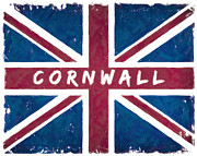 Cornwall Digital Art Prints - Cornwall Distressed Union Jack Flag Print by Mark E Tisdale