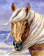 White Stallion Posters - Corona Band Stallion of Sand Wash Basin HMA Poster by Linda L Martin