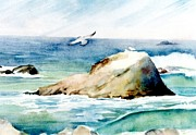 Flying Seagull Painting Framed Prints - Corona del Mar Beach Framed Print by Gail Sellers