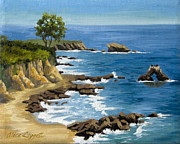 California Coast Paintings - Corona del Mar California by Alice Leggett
