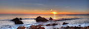 Corona Posters - Corona Del Mar Sunset Panorama Poster by Eddie Yerkish
