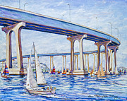 Wishes Posters - Coronado Bay Bridge Poster by Sue Tushingham McNary