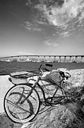Beach Cruiser Posters - Coronado Bridge Bike Poster by Peter Tellone