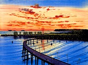 Hotel Painting Framed Prints - Coronado Panorama Framed Print by John YATO