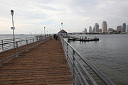 Gas Lamp Prints - Coronado Pier Overlooking The San Diego Skyline 5D24353 Print by Wingsdomain Art and Photography