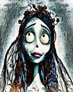 Burton Digital Art Posters - Corpse Bride Poster by Joe Misrasi