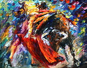 Sport Oil Paintings - Corrida 4 by Leonid Afremov