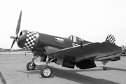 Ww Ii Prints - Corsair Fighter In Black and White Print by M K  Miller