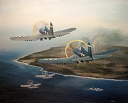 Marines Painting Originals - Corsairs Over Iwo by Stephen Roberson