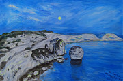 Sea Moon Full Moon Prints - Corsica Bonifaccio Evening Print by Agnieszka Praxmayer
