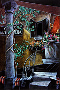 Colored Pencil Pastels Prints - CoRte Del TAgLiaPieTRa - Venise Dessin Crayon de Couleur Print by Arte Venezia