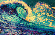 California Big Wave Surf Prints - Cortes Bank Wave Surfing Print by RJ Aguilar