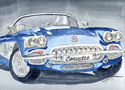 Corvette Drawings - Corvette Blue by Eva Ason