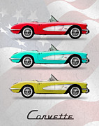 Car Poster Prints - Corvette Collection Print by Mark Rogan
