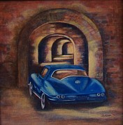Landscape Ceramics Metal Prints - corvette Fort Mccomb Metal Print by Jane Landry  Read