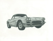 Automotive Drawings - Corvette by Jennifer Slouha