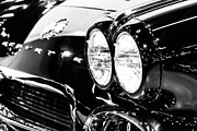 Motors Metal Prints - Corvette Picture - Black and White C1 First Generation Metal Print by Paul Velgos