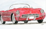 Corvette Drawings - Corvette Red by Eva Ason