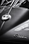 General Motors Company Posters - Corvette Sting Ray Monochrome Poster by Tim Gainey