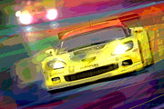 Corvette Paintings - Corvette Thunders at Le Mans by David Lloyd Glover