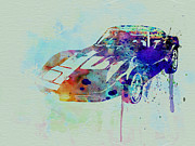 European Cars Drawings Posters - Corvette watercolor Poster by Irina  March
