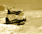 World War Pyrography Prints - Cosair Print by Tony Pierleoni
