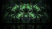 Cosmic Alien Vixens Green Print by Shawn Dall