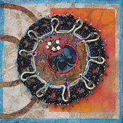 Textile Art Mixed Media Originals - Cosmic Cluster I by Christine Sauer