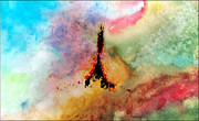 France Mixed Media Originals - Cosmic Effeil Tower by Michael Knight