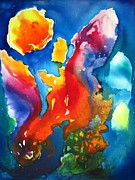 Liquid Painting Prints - Cosmic Fire Print by Carlin Blahnik