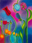 Flower Gardens Pastels Prints - Cosmic Gargen Print by Christine Perry